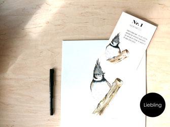 Postkarte Zeichnung Haubenmeise