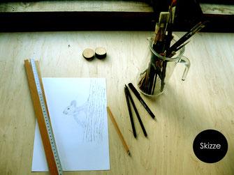 Illustationen mit Bleistift, Pinsel und  Feder