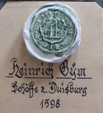 Duisburg Schöffensiegel von 1598
