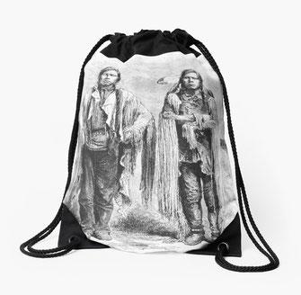 Rucksackbeutel backpack Indianer Häuptling Porträt, Cowboy, USA, Prärie, Wilder Westen, Siedler, Kolonie, Motiv, Design, chief, chieftain, wild west, settler, plains, prairie, portrait