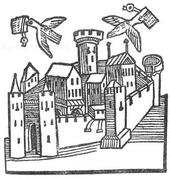Fliegende Brieftauben. Holzschnitt aus Montevilla. Reise, Straßburg, Prüß, 1488.