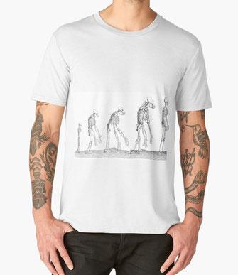 Genesis Männer Premium T-Shirts  Genesis, Mensch, human, Menschlichkeit, Entwicklung, Darwin, Affe, Skelett, Totenschädel, Knochen, Anatomie, Medizin, Veterinär, Tier, Zeichnung, Sketch