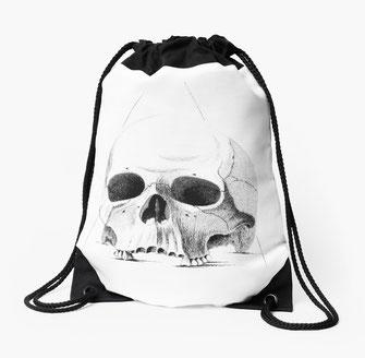 Drei Totenköpfe Rucksackbeutel backpack Totenkopf, skull, death's-head, Skelett, skeleton, carcass, head, Kopf, medizin, anatomie, anatomy, human, Menschenkopf, Mensch pirates