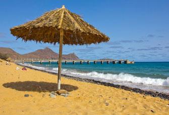 Porto Santo salos paplūdimys prie Vila Baleiros miestelio