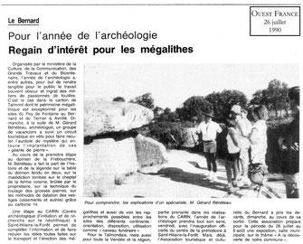 1990 - Regain d'intérêt pour les mégalithes - Ouest France