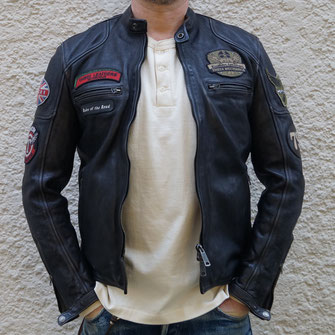 THEDI LEATHERS BLACK PATCHES