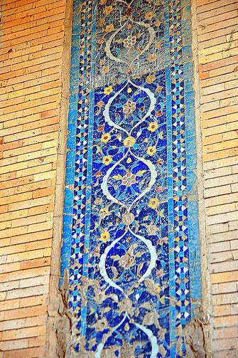 Turabek-Khanum Mausoleum. Turquoise glazed brick tiles