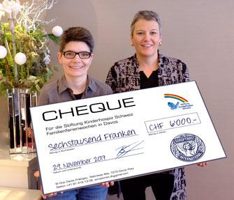 Checkübergabe an die Stiftung Kinderhospiz im November 2017, CHF 6000