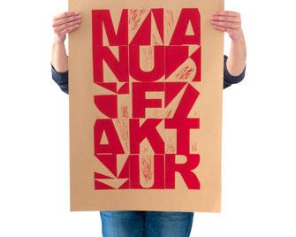 Das Plakat Manufaktur als Beispiel der Warengruppe Papeterie
