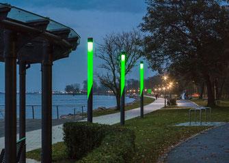 Leuchtenstelen Hafenpromenade Heiligenhafen, Hess GmbH Licht+Form