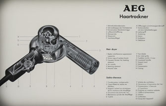 Construction drawing of the 1950s AEG hairdryers