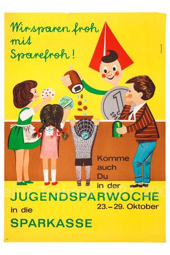 Wir sparen froh mit Sparefroh! . Sparefroh als Bankbeamter. Plakat Zentralsparkasse und Erste 1964.