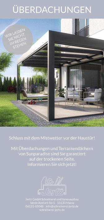 News Flyer Terrassendach Terrasse Sunparadise Aktion Überdachung Sommergarten Garten Outdoor Living Schreinerei Jertz Mainz