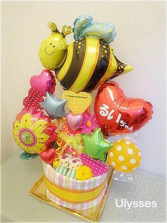 オムツケーキ 出産祝い つくば市バルーン屋