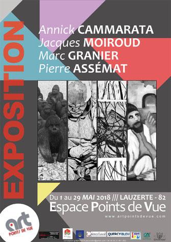 Affiche de l'exposition du mois de mai 2018 à Lauzerte à l'Espace Points de Vue