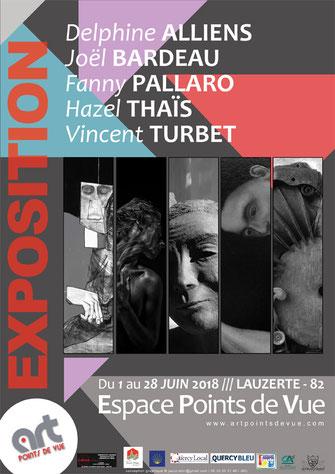 Affiche de l'xposition du mois de juin 2018 à l'espace Points de Vue de Lauzerte