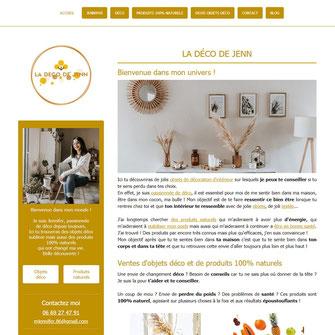 site web de Jennifer Martin, produits naturels et objets déco, réalisé avec e-cime