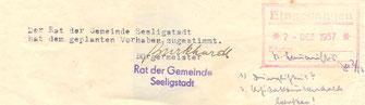 Bild: Seeligstadt Stempel 1957