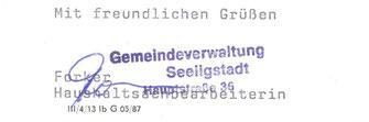 Bild: Seeligstadt Gemeindestempel 1987