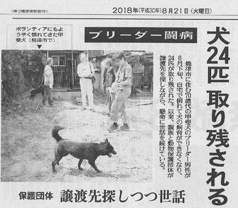 読売新聞 静岡版 8月21日