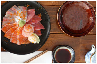 Assiette de sashimi thon, saumon, anguille