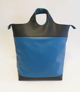 SACADOS Grand Modèle skaï bleu et noir