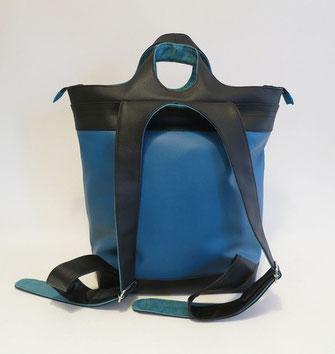SACADOS Grand Modèle skaï bleu et noir Dos