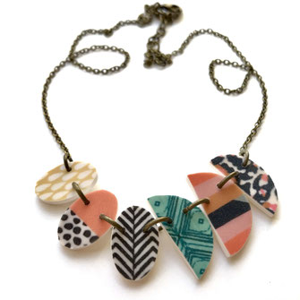 tribal geometric necklace handmade polymer clay