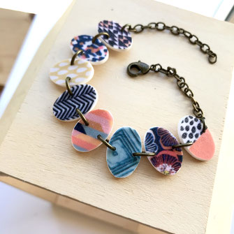 colorful tile bracelet handmade
