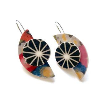 half moon earrings modern black and red