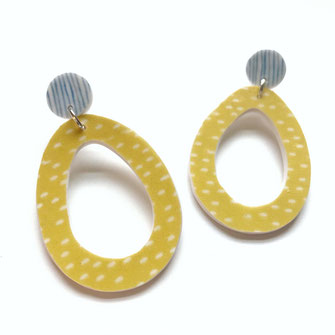 Avocado clay earrings yellow and blue