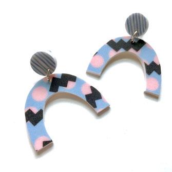 Arch Stud Earrings 80's patterns