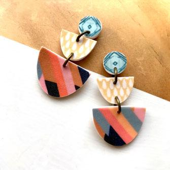 arch stud earrings handmade polymer clay
