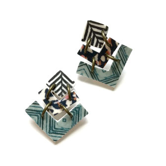 chevron stud earrings mint and black
