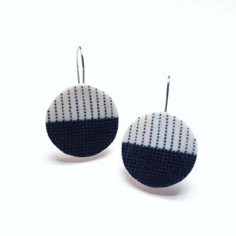 Japanese indigo shibori earrings