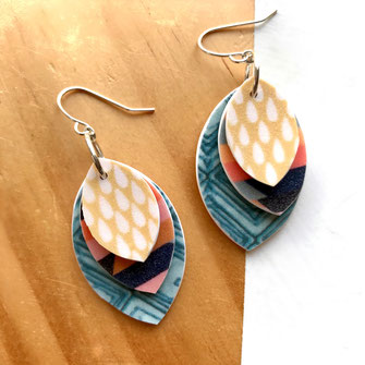layered leaf polymer clay earrings