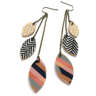 long chain tassel earrings polymer clay