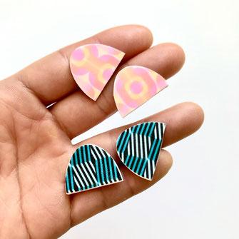 Modern arch stud earrings