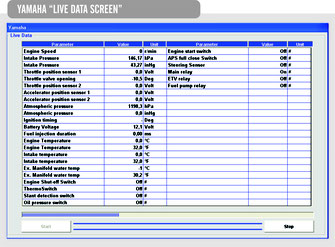 Screen Shot Yamaha Live Data