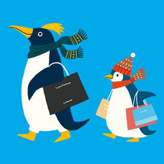 ペンギン 擬人化 買い物 イラスト