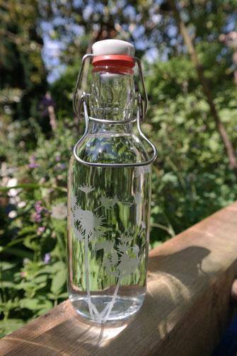 pusteblume, löwenzahn, komplett plastikfrei, glastrinkflasche, freiglas, individuell,