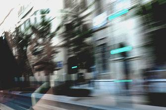 Photo, reflet, bus, Grenade, voyage, visage, flou, Espagne, Andalousie, Mathieu Guillochon, Inside Outside