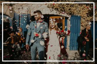 Sortie de la mairie des mariés, office de cérémonie laïque et décoration thème enchanté d'un mariage à Guérande par My Daydream Wedding, wedding planner et décoratrice de mariage à Lille et dans le Nord