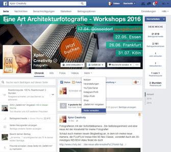 Screenshot Facebook Fanpage Apps Reiter verwalten