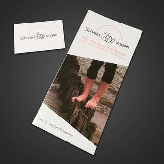 """Flyer & Visitenkarten für """"Schritte wagen - Ambulant Betreutes Wohnen"""""""