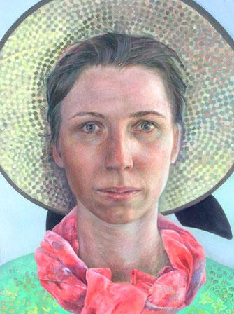 Selbst als Urlauberin, 2006. (Öl/Holz, 40 x 30 cm)