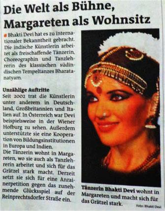 Indische Tänzerin Bhakti Devi -Bezirks Zeitung