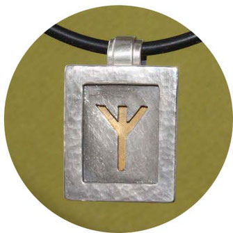 Bild:Neptun Anhänger,eckige Platte aus Silber,ausgesägter Neptun,hinterlegt mit Gold,extra Öse für die Kette am oberen Rand