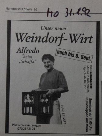 """""""Historische"""" Anzeige des Kirchheimer Weindorfes"""