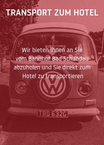 Wir bieten Ihnen an Sie vom Bahnhof Bad Schandau  abzuholen und Sie direkt zum Hotel zu transportieren